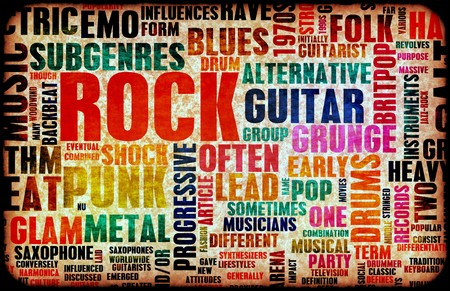 vintage music background: Rock Music Poster Art as Grunge Background