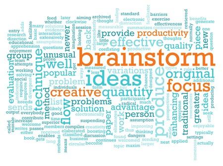 lluvia de ideas: Un concepto de sesi�n Brainstorm como un resumen de la