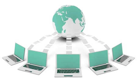 Computer Network on the Internet in 3d Concept Stock Photo - 7322435