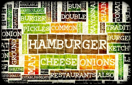 Hamburger Menu in a American Fast Food Restaurant