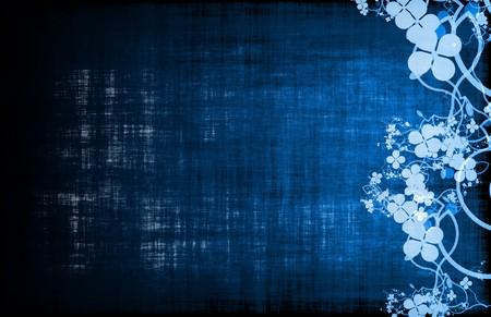Blue Grunge Floral Decor Old Texture Background