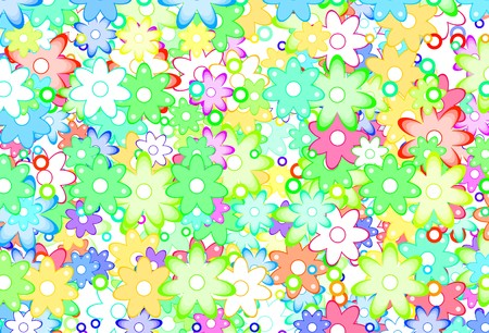 Cute Cartoon Art Flowers Simple Color Background Stock Photo - 7339021