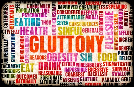 overly: Gluttony one of the Seven Deadly Sins Concept