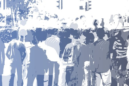 overcrowding: Crowd Abstract Background in Colors and White