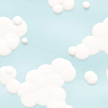 Seamless Cartoon Clouds Background in Sky Blue 版權商用圖片