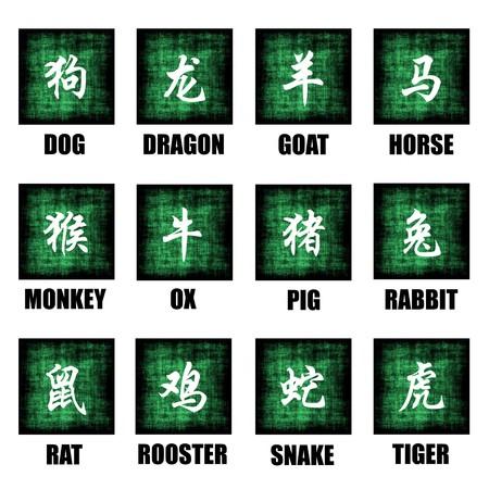 Chinese Zodiac Animals Lunar Astrology Art Set Banque d'images