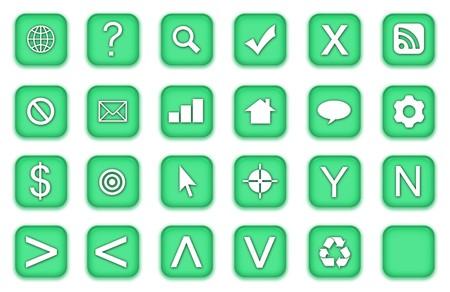 Web Icons Set in Aqua Green Symbols photo