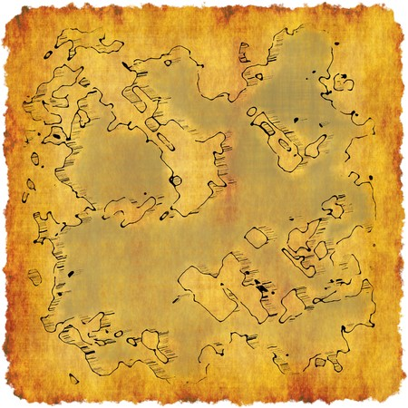 Cartography Cartoon Map on a Adventure Scroll  photo