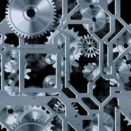 clockwork: Seamless Mechanical Background with Cogs as Art Stock Photo