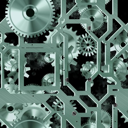 Seamless Mechanical Background with Cogs as Art photo
