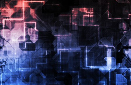 engineered: Futuristic Abstract Optical Interface As a Art Stock Photo