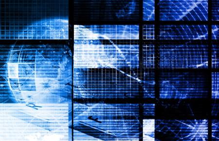 초록색 블루 디지털 데이터 전송 네트워크