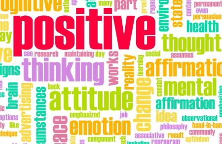 actitud positiva: Pensamiento positivo como un concepto abstracto de actitud Foto de archivo