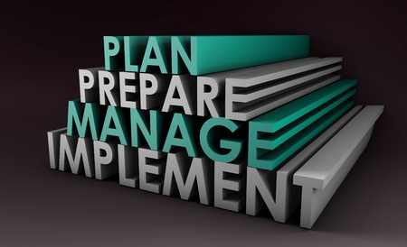 emphasize: Management Planning Steps As a Concept in 3d Stock Photo