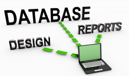 information analysis: Database System for Reports and Data Analysis Stock Photo