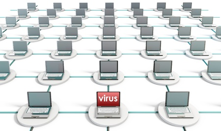 System Virus on a PC Computer Network Stock Photo - 8613837