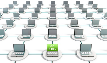 solution: Green Technology on a PC Computer Network Stock Photo