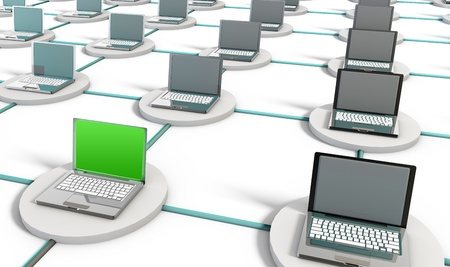 Computer Network on the Internet with PCs Stock Photo - 8632402