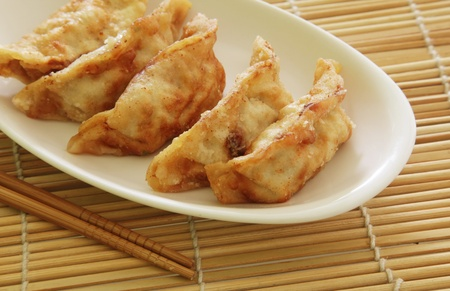 gyoza: Fried Dumplings Chinese Style Cuisine as Meal Stock Photo