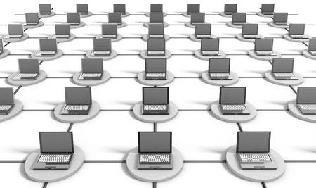 Réseau informatique sur Internet avec des ordinateurs Banque d'images - 8663438