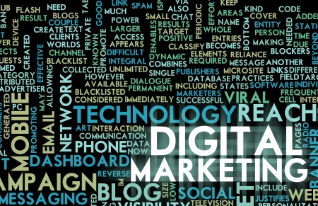 marketing online: Digital Marketing on the Internet and Other Media Stock Photo
