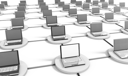 Computer Network on the Internet with PCs Stock Photo - 8755218