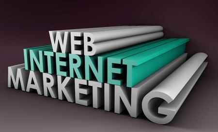 3 D 形式で Web 上のインターネットのマーケティング 写真素材