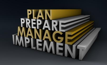 implement: Gestione pianificazione passi come un concetto in 3d Archivio Fotografico