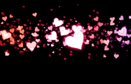 excite: Love Background with Floating Hearts as Art Stock Photo