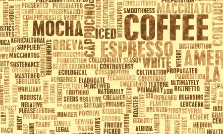 organic drinks: Coffee Varieties and Other Beverages Types Art Stock Photo