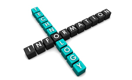 Information Technology as a Concept in 3d Blocks photo