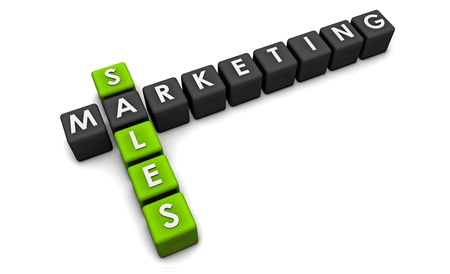 marketing online: Sales and Marketing Concept in 3d Format Stock Photo