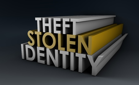 unprotected: Stolen Identity Theft as a Concept in 3d Stock Photo