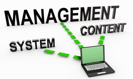 cms: Content managementsysteem op Document in 3D Stockfoto
