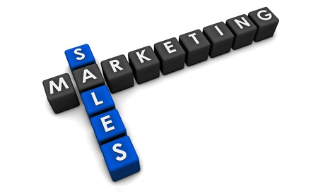 marketing plan: Sales and Marketing Concept in 3d Format Stock Photo