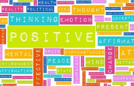 uplifting: Pensamiento positivo como un concepto abstracto de actitud Foto de archivo