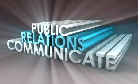 relaciones publicas: Concepto de relaciones p�blicas en la industria de PR Foto de archivo