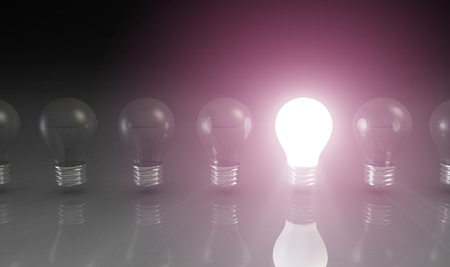 genuine good: Creativity Concept with Light Bulb Glowing in 3d Stock Photo