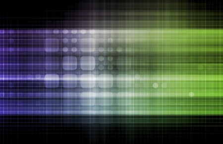 Technology Network with a Data Grid System Stock Photo
