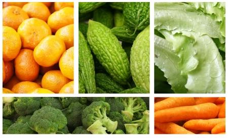 果物と野菜の多様性と選択肢のコラージュ 写真素材
