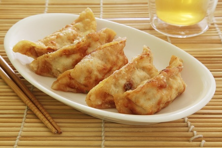 dumpling: Fried Dumplings Chinese Style Cuisine as Meal Stock Photo