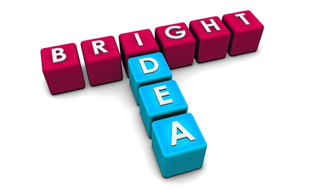 Bright Idea in Simple and Creative 3D Blocks Stock Photo - 9338975