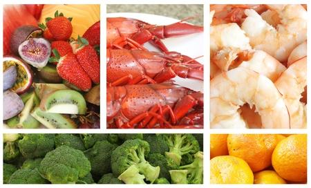 carnes y verduras: Restauraci�n de servicio con la elecci�n de alimentos variados de alimentos