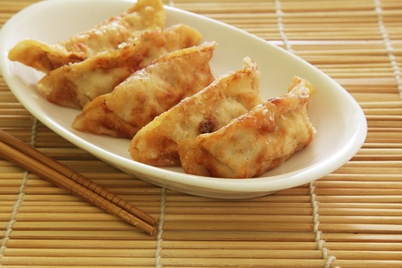 Fried Dumplings Chinese Style Cuisine as Meal photo