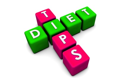 Diet Tips in Simple 3D Cubes on White photo