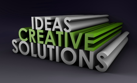solution: Creative Ideas and Solutions as 3d Illustration Stock Photo