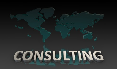 consultancy: Consulting Services with World Knowledge as Art Stock Photo