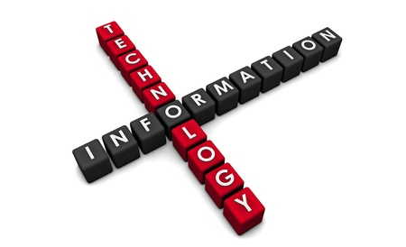 it technology: Information Technology as a Concept in 3d Blocks Stock Photo