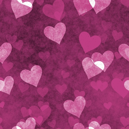 Seamless Hearts Background in Grunge Love Texture