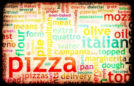 menu: Pizza Menu as Concept Background with Toppings Stock Photo